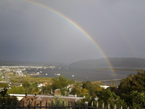 A lovely rainbow over the Lagoon as pictured from Suite 4