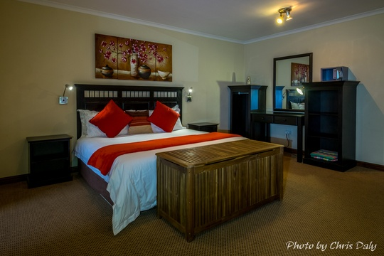Suite 3 is a very spacious Self-catering Suite that can sleep 4 people and has a bigger bathroom and a kitchenette with dining table as well as a double sleeper couch.